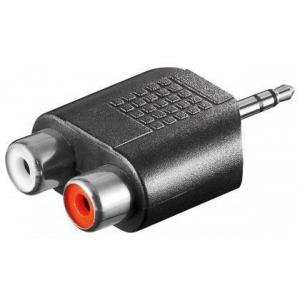 3,5mm stereoplugi / 2 x RCA-naaras, muovia