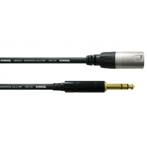 Laitekaapeli 3 m, XLR-uros/¼'' stereoplugi