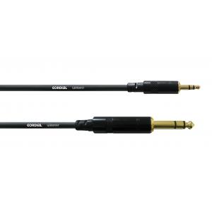 Laitekaapeli 3 m, ¼''/3,5 mm stereoplugit